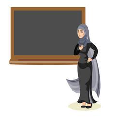 Muslim woman teacher standing in front vector