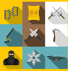 ninja weapon icon set flat style vector image