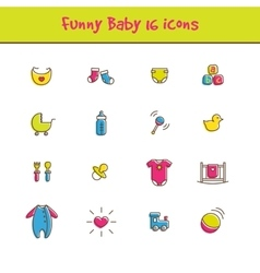 Outline colorful 16 baicons set in funny vector