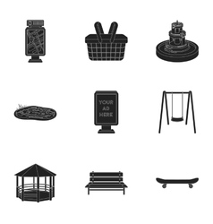 Park set icons in black style Big collection of vector