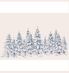 pine forest hand drawn border winter landscape vector image