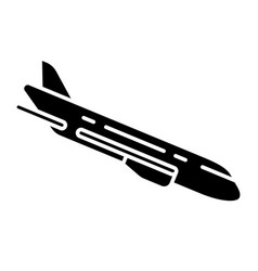 Plane flying down glyph icon vector