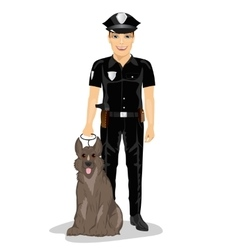 Policeman standing with police dog smiling vector image