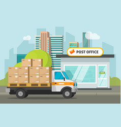 post office on city street and cargo truck loaded vector image