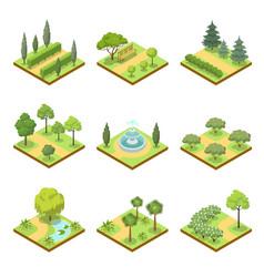 Public park landscapes isometric 3d set vector