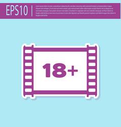 Retro purple play video with inscription 18 plus vector