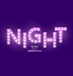 Retro sign with lamp night banner vector