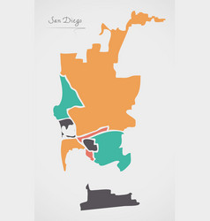 San diego map with boroughs and modern round vector
