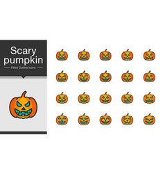Scary pumpkin icons filled outline design vector