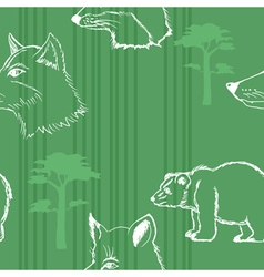 seamless background with forest animals vector image