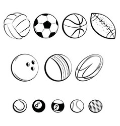 set balls collection gaming balls black vector image