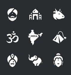 set india symbols icons vector image