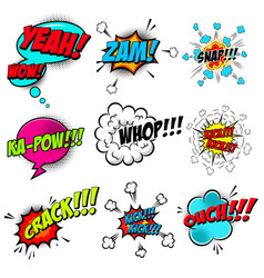 set of comic style speech bubbles with sound text vector image