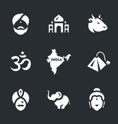 set of india symbols icons vector image