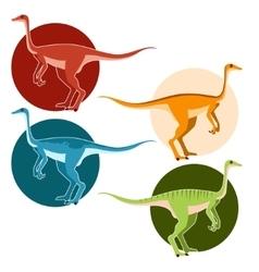 Set ostrich dinosaurs vector