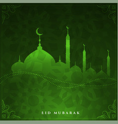 Shiny eid mubarak green color design background vector