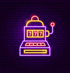 slot machine neon sign vector image