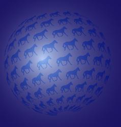 sphere of running horses vector image