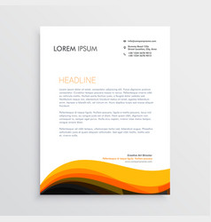 stylish letterhead design with yellow wave design vector image
