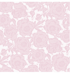 Tender luxury peony flowers seamless pattern vector