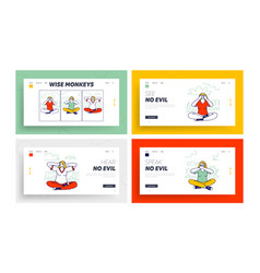 Three wise monkeys landing page template set vector