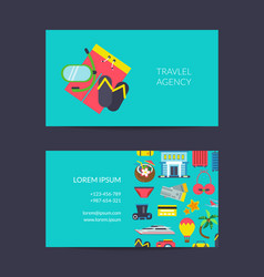 travel business card template for travel vector image