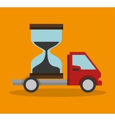 Truck sand clock delivery concept design vector