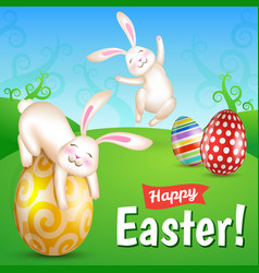 Two white cheerful easter bunnies in the meado vector