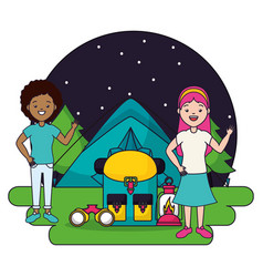two women camping tent backpack lantern vector image