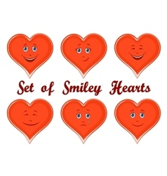 Valentine Holiday Hearts with Faces vector image