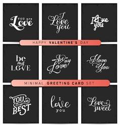 Valentines Day Minimal Greeting Card Set vector image