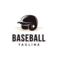 vintage baseball logo with batting helmet icon vector image