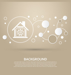 warm home icon on a brown background with elegant vector image