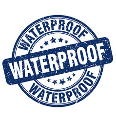 Waterproof blue grunge stamp vector