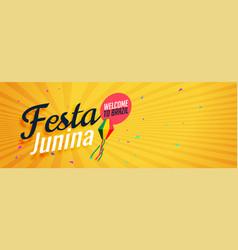 Yellow festa junina banner design vector