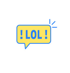 Yellow speech bubble with text lol vector