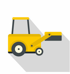 Yellow truck to lift cargo icon flat style vector
