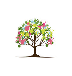 color trees with some leaves and flowers icon vector image