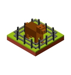 dog and fence icon Isometric design vector image