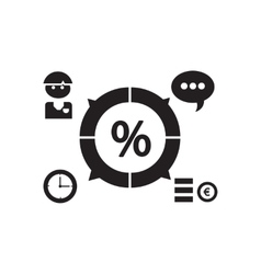 Flat icon in black and white economy infographics vector image