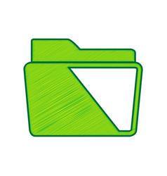 folder sign lemon scribble vector image vector image