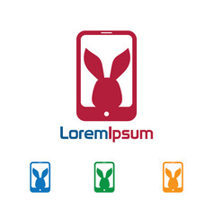 Phone rabbit logo vector