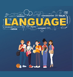 a group of student studies many languages vector image vector image