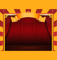 Circus poster with stage and red curtains vector