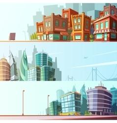 City Skyline 3 Horizontal Banners Set vector image vector image