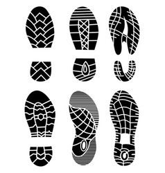 footprint icons isolated on white background vector image vector image