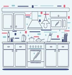 Linear flat interior design of modern kitchen vector image
