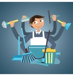 man male cleaning service house office cleaner vector image