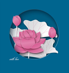 Blue card with cut round frame pink lotus flower vector