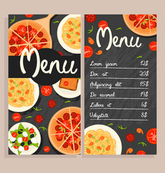 colorful italian restaurant menu template vector image vector image